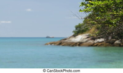 Men fishing on the shore. Fishing boat swaying on the waves. Focus on tree branches on foreground. Phuket, Thailand.