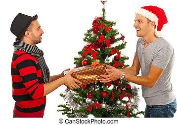 Men friends gives present