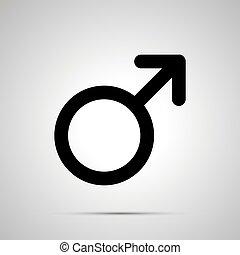 Men gender, simple black mars icon