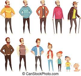 Men Generation Decorative Icons Set