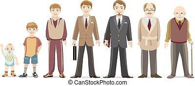 Men generations - Generation of men from infants to seniors....