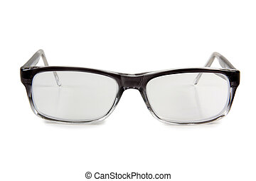 Black men glasses on white background