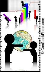 Men, globe and graph