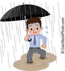 Men go home in the heavy rain