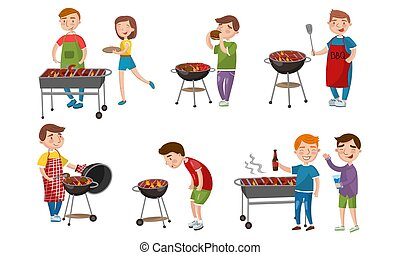 Men grill barbecue on vacation. Vector illustration.