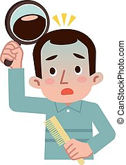 Men hair loss is worrisome - Vector illustration.Original...