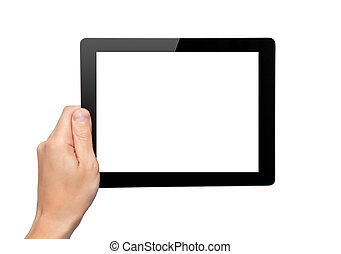 Men hand hold a tablet touch pad computer gadget with...