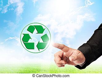 Men hand hold recycle sign
