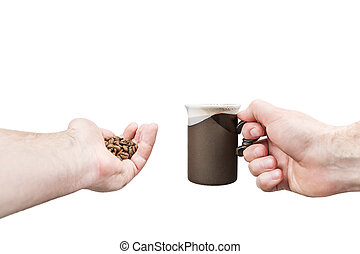 Men hands hold coffee