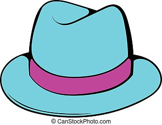 Men hat icon cartoon - Men hat icon in cartoon style...