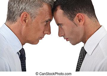 Men head butting