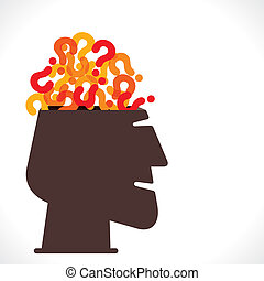 men head with full of question mark concept vector