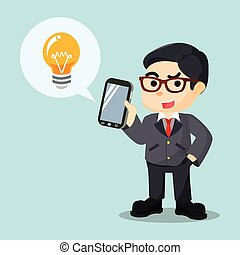 men holding phone with bulb
