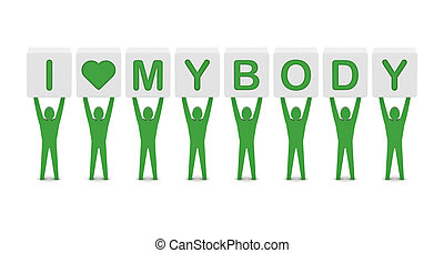 Men holding phrase i love my body