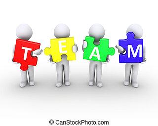 Men holding team puzzle pieces