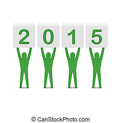 Men holding the 2015 year.