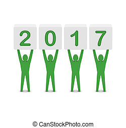 Men holding the 2017 year.