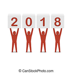 Men holding the 2018 year. Concept 3D illustration.