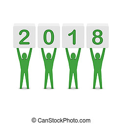 Men holding the 2018 year.