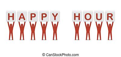Men holding the phrase happy hour. Concept 3D illustration.
