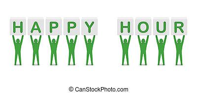 Men holding the phrase happy hour.