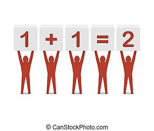 Men holding the simple math. Concept 3D illustration.