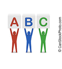 Men holding the word abc. Concept 3D illustration.