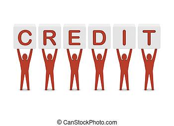 Men holding the word credit. Concept 3D illustration.