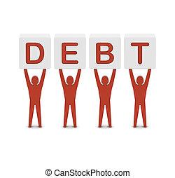 Men holding the word debt. Concept 3D illustration.