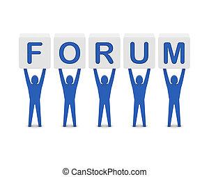 Men holding the word forum. Concept 3D illustration.