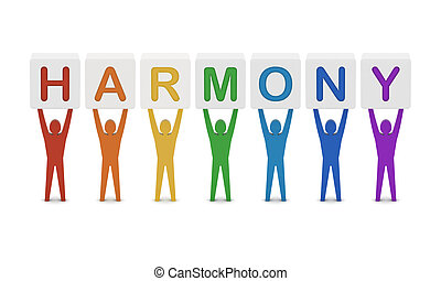 Men holding the word harmony. Concept 3D illustration.