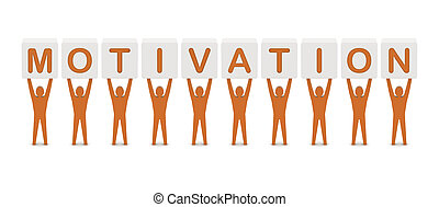 Men holding the word motivation. Concept 3D illustration.