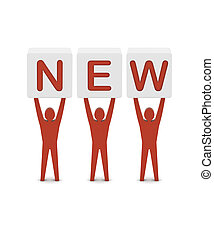 Men holding the word new. Concept 3D illustration.