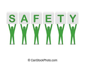 Men holding the word safety. Concept 3D illustration.