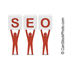 Men holding the word SEO. Concept 3D illustration.