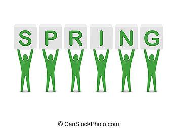 Men holding the word spring. Concept 3D illustration.
