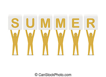 Men holding the word summer. Concept 3D illustration.