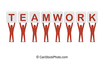 Men holding the word teamwork.