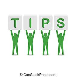 Men holding the word tips. Concept 3D illustration.
