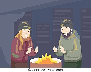 Illustration of a Homeless Man and Woman Warming Up in Front of a Drum Fire Pit During Winter Night