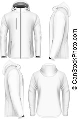 Men hooded softshell jacket design template - Men softshell...
