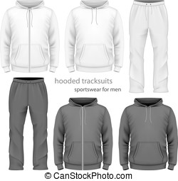 Men hooded tracksuit. Vector illustration