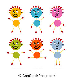 Men Icons Made from Colorful Paper and Safety Matches Set with Smiley Face