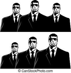 Men in black - Three men in black suits. The secret service...