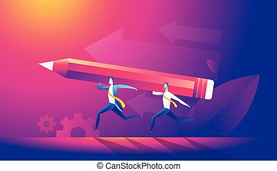 men in business suits together carry a big red pencil, an isometric image.