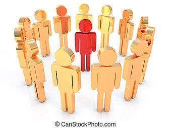 Men in circle 3D