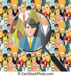 Men in crowd under magnifying glass, flat illustration