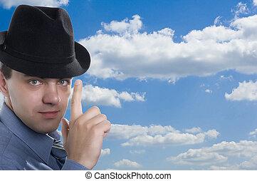 men in hat on blue sky