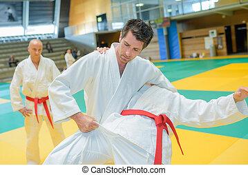Men in judo combat