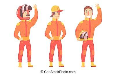 Men in orange rider suits. Vector illustration.